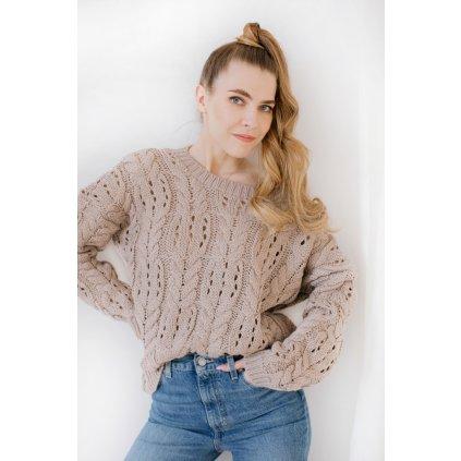 Elegantní ažurový svetr pro dámy s kulatým výstřihem