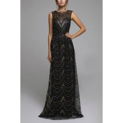 Černé dlouhé šaty se zlatými vzory tylové šaty