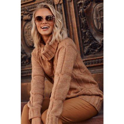 Oversize dámský svetr vlněný rolák pletený pulovr