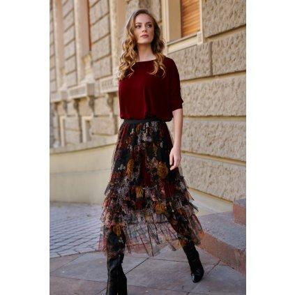 Maxi tylová sukně s květinovým vzorem a gumičkou