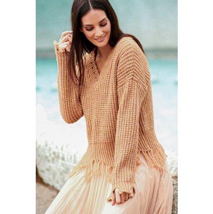 Stylový svetr s třásněmi pletený černý pulovr teplý s výstřihem