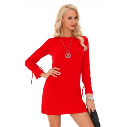 Ženské šaty lichoběžníkového střihu s dlouhými rukávy a šnůrkou