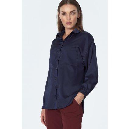 Košile s knoflíky vpředu, malým límcem a náprsními kapsami