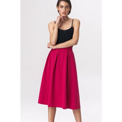 Áčková široká růžová sukně černá s řasením a vysokým pasem