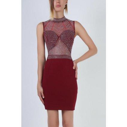 Smyslné mini šaty s třpytivými kamínky a stojatým límcem