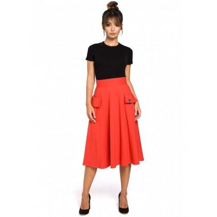 Široká midi sukně s vysokým pasem a  předními kapsami BE B046