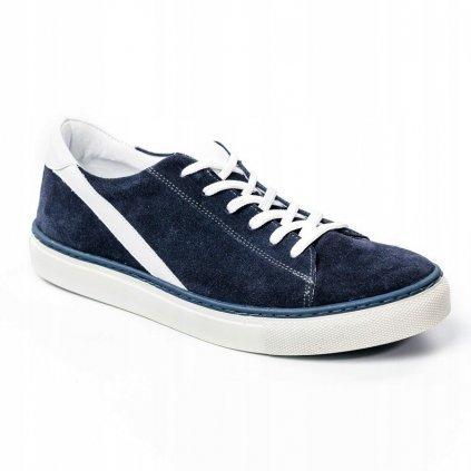 Rovické kožené ležérní semišové boty šněrovací