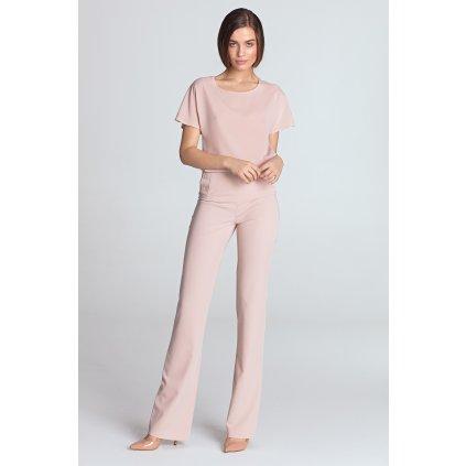 Módní  kalhoty široké s kapsami a knoflíky - S/M
