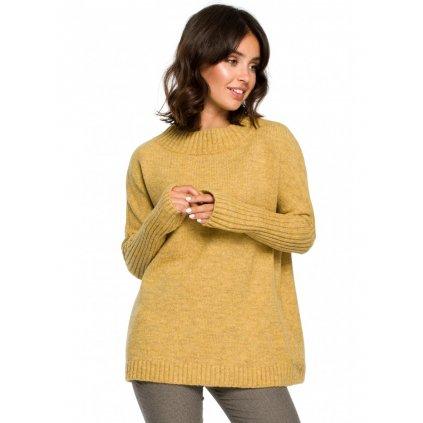 Dámský elegantní svetr s dlouhými s žebrovanými rukávy BeKnitWear BK009