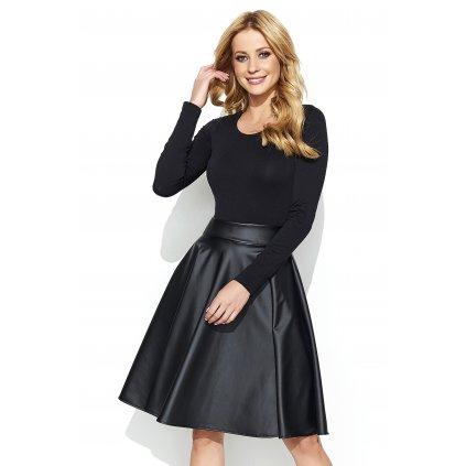 Lesklá kožená černá sukně z eko kůže s vysokým pasem - M