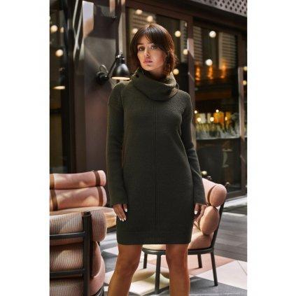 Svetrové pletené šaty s vysokým límcem BEWEAR BK010