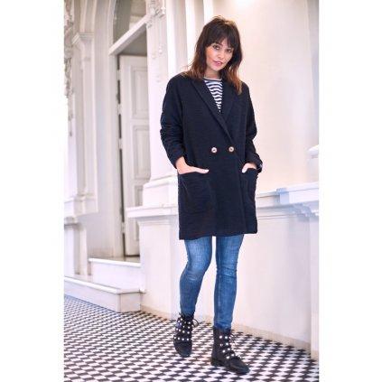 Dlouhé bavlněné stylové dámské sako/svetr s kapsami BeWear B099