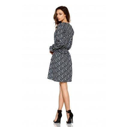 Ženské šaty s potiskem délky midi a dlouhými rukávy