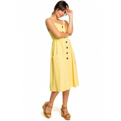 Letní áčkové šaty na knoflíky BeWear B117