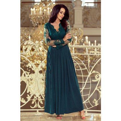 ARATI dlouhé šaty s vyšívaným výstřihem a dlouhými rukávy 213-1