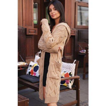 Dlouhý pletený copánkový kardigan s kapucí a dlouhým rukávem