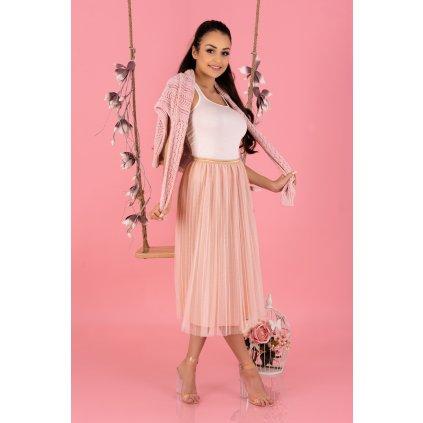Dámská midi šifónová sukně s vysokým pasem