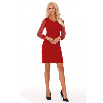 Elegantní šaty po kolena s dlouhými tylovými rukávy s puntíky