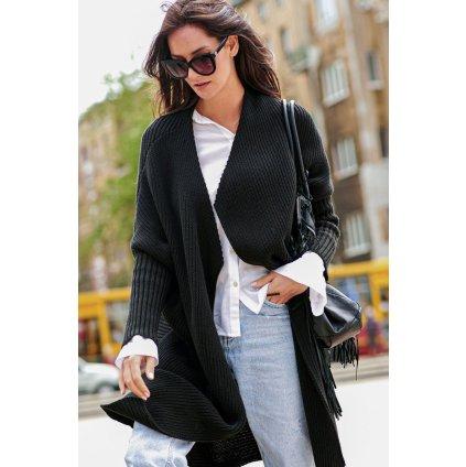 Pohodlný dlouhý svetr pletený Kardigan bez zapínání