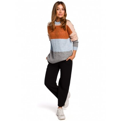 Pletený teplý vlněný svetr barevný pulovr s dlouhým rukávem S200