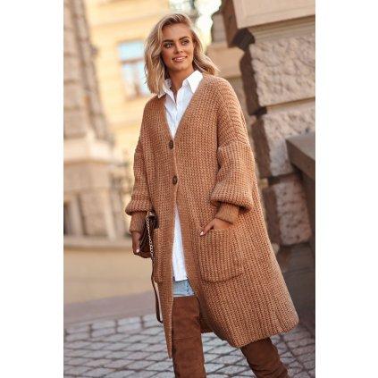 Vlněný dlouhý svetr pletený kardigan na knoflíky s kapsami