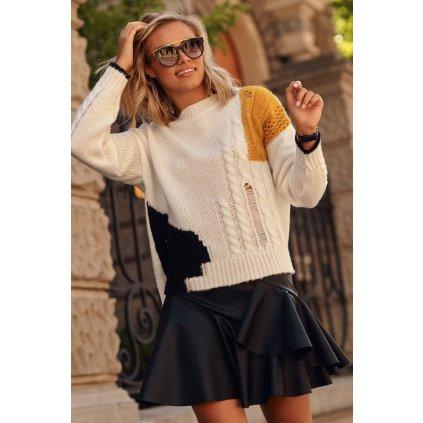 Dámský svetr s oděrkami vícebarevný klasického střihu