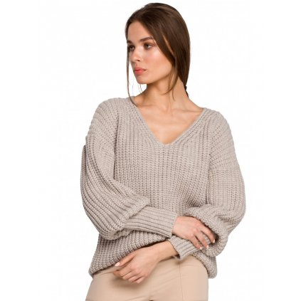 Stylový svetr s nafouklými rukávy a véčkovým výstřihem S268