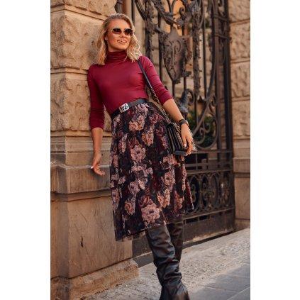Tylová midi sukně s květinovým potiskem