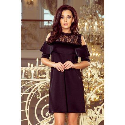 Volné šaty s krajkou a odhalenými rameny Černé 247-1