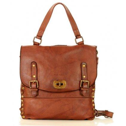 Kožená kabelka handmade Italský batoh cambridge MARCO MAZZINI