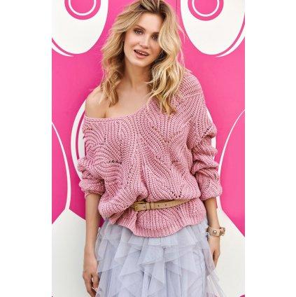 Prolamovaný khaki svetr pulovr s dlouhým rukávem a výstřihem