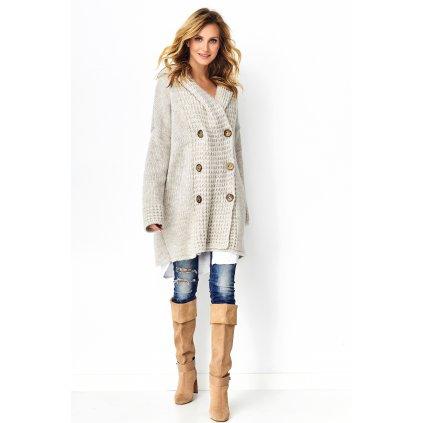 Vlněný šedý svetr lehký hnědý kabátek Melanžový na knoflíky