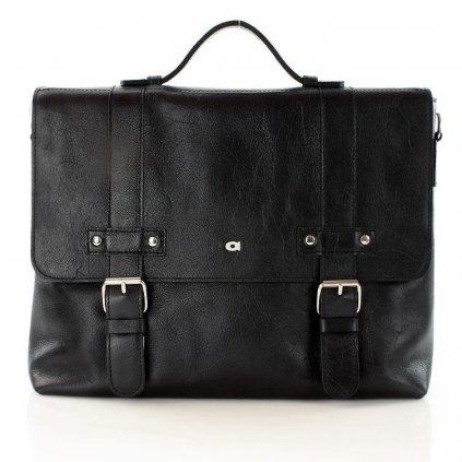 Pánská Černá kožená taška / aktovka JAZZY PARTY 16 - CORLEONE
