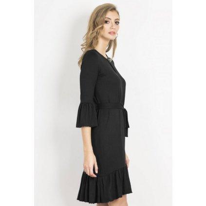 Černé šaty s volánky s výstřihem ve tvaru slzy