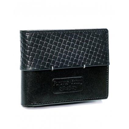 Černá kožená peněženka Forever Young® pro muže s prošíváním