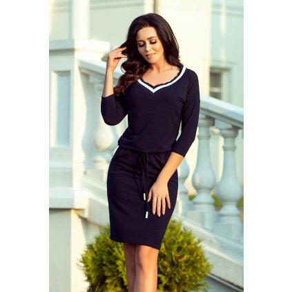 Sportovní šaty s lemem tmavě modré Numoco 224-1