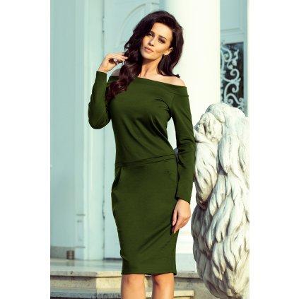 RAYA Šaty s odhalenými rameny KHAKI NUMOCO 225-1