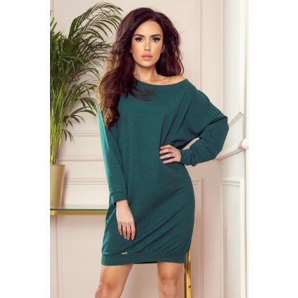 OVERSIZE Volné mikinové šaty - BOTTLE GREEN 293-1