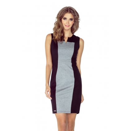 Dvoubarevné šaty - ČERNÉ + ŠEDÉ MORIMIA MM 006-3