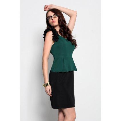 3920-3 Vesta šaty s ozdobnými volánky - zelená