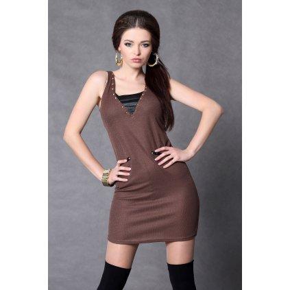 4011-2 Tričkové šaty s leskem - čokoládová barva