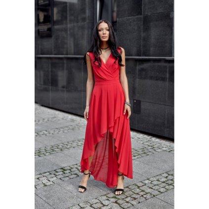Asymetrické maxi šaty s obálkovým výstřihem