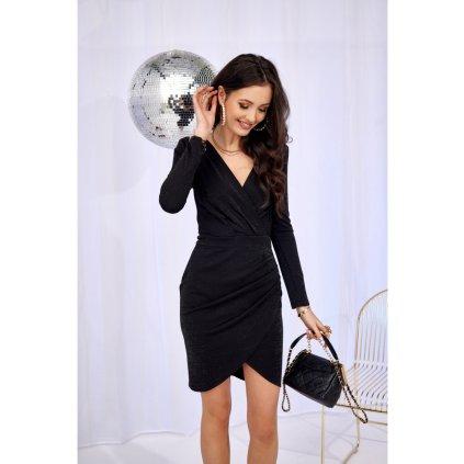 Přiléhavé brokátové mini šaty s dlouhými rukávy