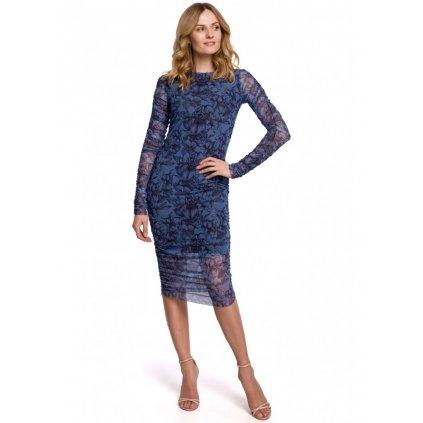 Síťované šaty s krajkou MAKEOVER K065