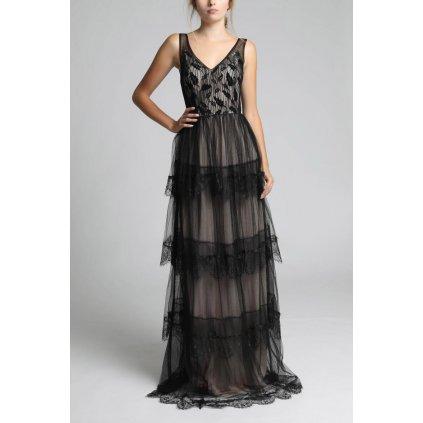 Béžovo-černé plesové šaty s volánky a výstřihem do V