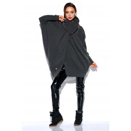 Pletený asymetrický svetr rolák se zipem z jemné bavlny