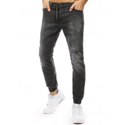 Pánské riflové kalhoty džíny jogger běžecké antracitové