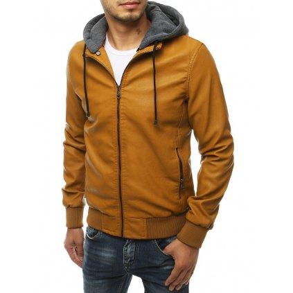 Stylová pánská kožená bunda s odnímatelnou látkovou kapucí.