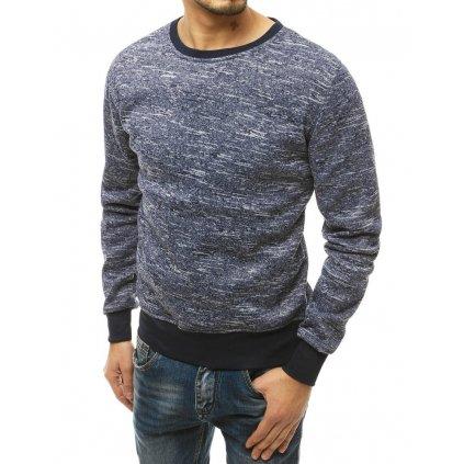 Pánský melánžový svetr bavlněná mikina bez kapuce