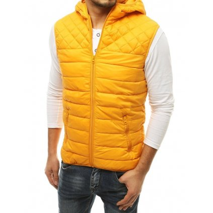 Pánská prošívaná vesta na zip s kapucí různé barvy